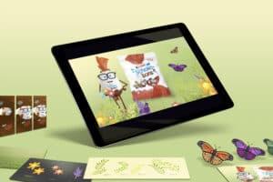 Grafik skapad åt Ferrero och produkterna Kinder Schoko-Bons. VIsande en iPad med den animerade maskoten Mr Bon i en våräng med fjärilar och blommor mot en grön bakgrund. Runt om iPaden finns olika delar av grafiken.
