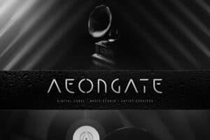Logotyp, grafik och hemsida skapad åt skivbolaget och mediabyrån AEONGATE. En retrofuturistisk strikt text mot en svartvit bakgrund innehållande en gammal skivspelare och vinylskivor.