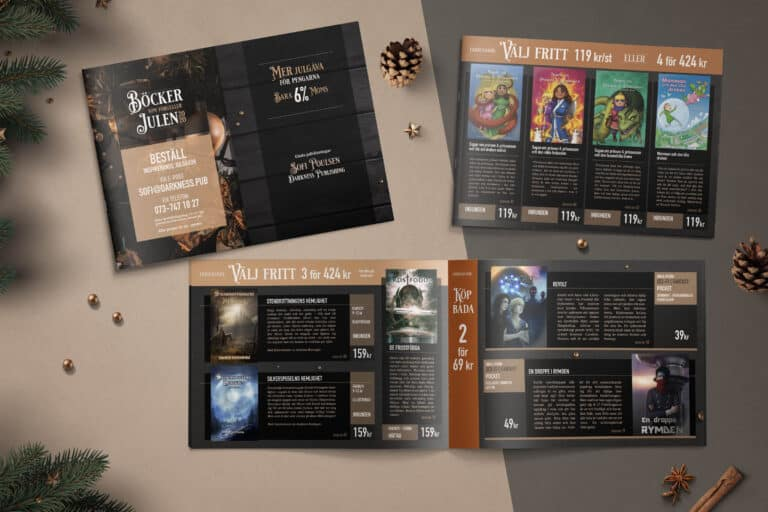 Katalog skapad till Darkness Publishings julkampanj 2020.